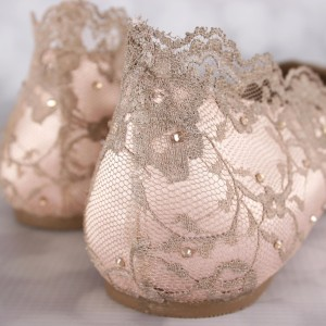 Scalloped Lace Overlay Custom Wedding Shoes
