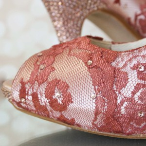 Scalloped Lace Overlay on Peep Toe Overlap Custom Wedding Shoes