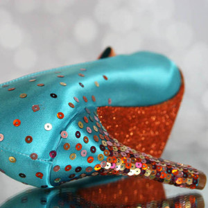 Sequin Starburst on Heel Custom Wedding Shoes