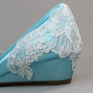 Simple Lace Accent on Heel Custom Wedding Shoes