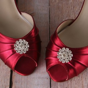 Simple Rhinestone Adornment Custom Wedding Shoes