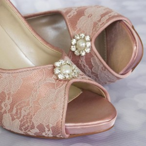 Small Pearl and Rhinestone Adornment Custom Wedding Shoes