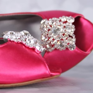 Square Crystal Brooch Adornment Custom Wedding Shoes