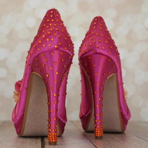Starburst Crystal Heel and Heel Cup Custom Wedding Shoes