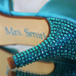 Tornado Blue Peeptoes with Blue Crystal Heel and Save the Date