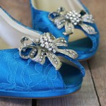 Turquoise Blue Wedding Shoes Platform Peep Toe Custom Wedding Shoes with Turquoise Lace Overlay Rhinestone Bow Adornment and Silver Crystal Buttons 3