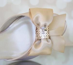 Champagne Peep Toe Custom Wedding Shoes Sequin Heel and Bow on Toe 4
