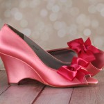 Coral Peeptoe Wedge Wedding Shoes with Fuschia Off Center Bow by Ellie Wren Custom Wedding Shoes 3