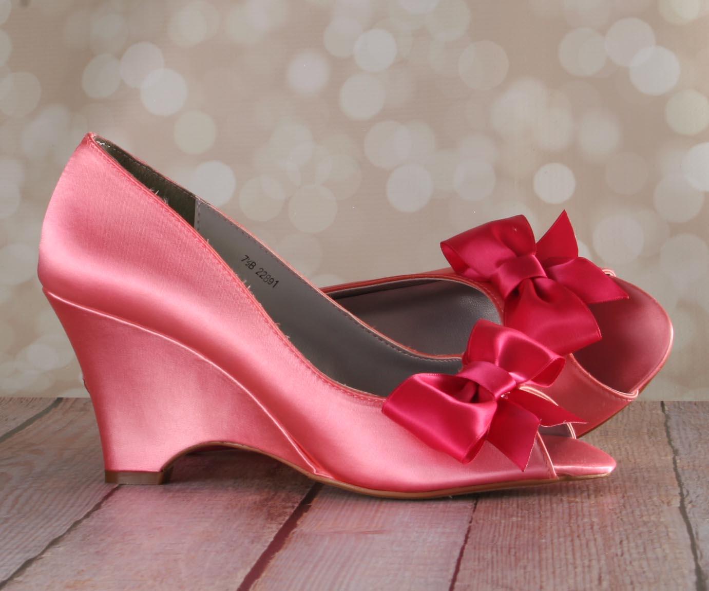 683ddcbafbab Coral Peeptoe Wedge Wedding Shoes with Fuschia Off Center Bow by Ellie Wren  Custom Wedding Shoes