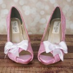 Custom Wedding Shoes Capri Pink Peep Toe Lace Overlay White Bow on Toe White Buttons 2