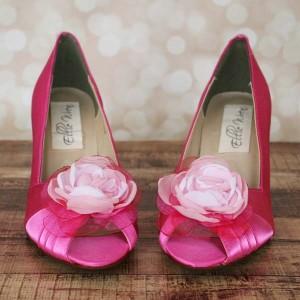 Custom Wedding Shoes Fuschia Peep Toe Wedding Shoes Pink Ombre Flower Capri Pink Buttons 2
