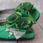 Custom Wedding Shoes Green DOrsay Peep Toe Kitten Heel Matching Trio Flowers Letter Leaves 1