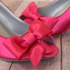 Custom Wedding Shoes Hot Pink Peep Toe Wedge Wedding Shoes Matching Bow 3