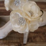 Custom Wedding Shoes Ivory Platform Lace Overlay Ivory Flowers Ankle Silver Crystal Heel and Platform 2