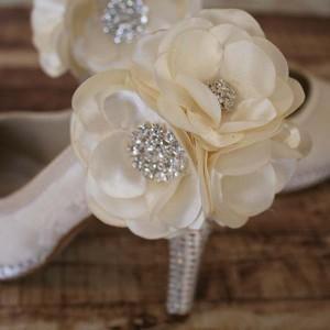 Custom Wedding Shoes Ivory Platform Lace Overlay Ivory Flowers Ankle Silver Crystal Heel and Platform 2