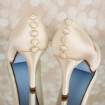 Custom Wedding Shoes Ivory Platform Peep Toe Wedding Shoes Ivory Buttons Blue Painted Sole 2