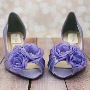 Custom Wedding Shoes Lilac Kitten Heel Peep Toes DOrsay Matching Trio Flowers on Toe 3