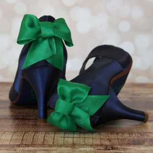 Custom Wedding Shoes Navy Blue Peep Toe Wedding Shoes Emerald Bow on Back 1
