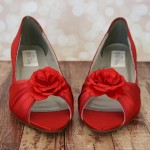 Custom Wedding Shoes Red Kitten Heel Peep Toes with Simple Satin Flower on Toe 1