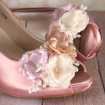 Custom Wedding Shoes Rose Petal Pink Peeptoe Wedding Shoes with Peach Pink and Ivory Flowers with Pearls 2