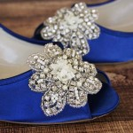Custom Wedding Shoes Royal Blue Peep Toe Wedges with Custom Crystal and Pearl Applique on Toe 2