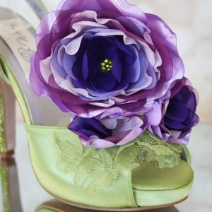 Custom Wedding Shoes Spring Green Platform TStrap Lilac Purple Flowers Crystal Heel Save the Date 4