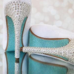 Custom Wedding Shoes White Platform Peep Toe Silver Crystal Heel Poof Flower Tiffany Glitter Sole 1