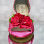 Fuschia Peep Toe Side Cut Custom Wedding Shoes with Matching Pink Flower Silver Buttons 7