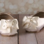 Ivory Closed Toe Ballet Flats with Handmade Pearl and Crystal Applique on Toe and Ivory Bow on Back 5