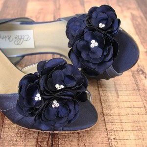 Custom Wedding Shoes Navy Blue DOrsay Peep Toe Wedding Shoes Silver Crystal Covered Heel Trio of Flowers on Toe 3