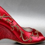 Red Wedding Shoe Wedge Gold and Red Crystals Indian Wedding Shoe Custom Design