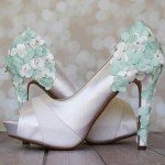 Ivory Wedding Shoes High Heel Peeptoe Ivory and Mint Flower Covered Heel Custom Wedding Shoes Design