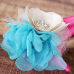 Large Chiffon and Satin Flower Tulle Puffs