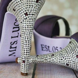 Purple Wedding Shoes High Heel Peeptoe Silver Crystal Covered Heel Lilac Painted Sole Married Name Sole Decal Custom Wedding Shoe Design
