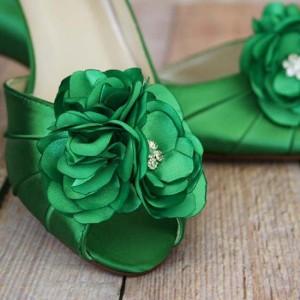 Emerald Green Wedding Shoes Green Flowers Toe Custom Wedding Shoe Design