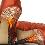 Burnt Orange Wedding Shoes Ruby Orange and Champagne Ombre Crystal Heel Custom Wedding Shoes Design