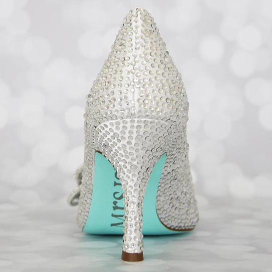 White Wedding Shoes Silver Crystals Aqua Blue Painted Sole Custom ...