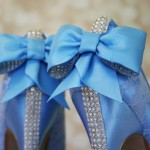 Capri Blue Wedding Shoes Lace Bow on Back Rhinestone Strip Custom Wedding Shoes Design