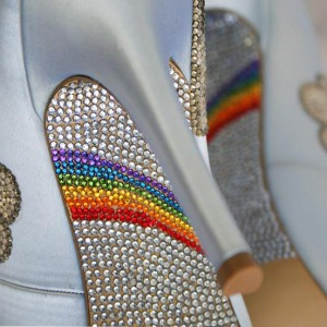 Custom Wedding Shoes Rainbow Crystal Covered Sole