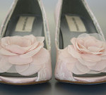Blush Wedding: Blush Peeptoe Wedge Custom Wedding Shoes with Ivory Lace Overlay and Blush Chiffon Flowers by Ellie Wren Custom Wedding Shoes
