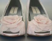 Blush Wedding: Blush Peeptoe Wedge Custom Wedding Shoes with Ivory Lace Overlay and Blush Chiffon Flowers by Ellie Wren Custom Wedding Shoes