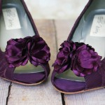 Aubergine Purple Wedding Shoes Wedges Lace Flowers Buttons Custom Design Ellie Wren