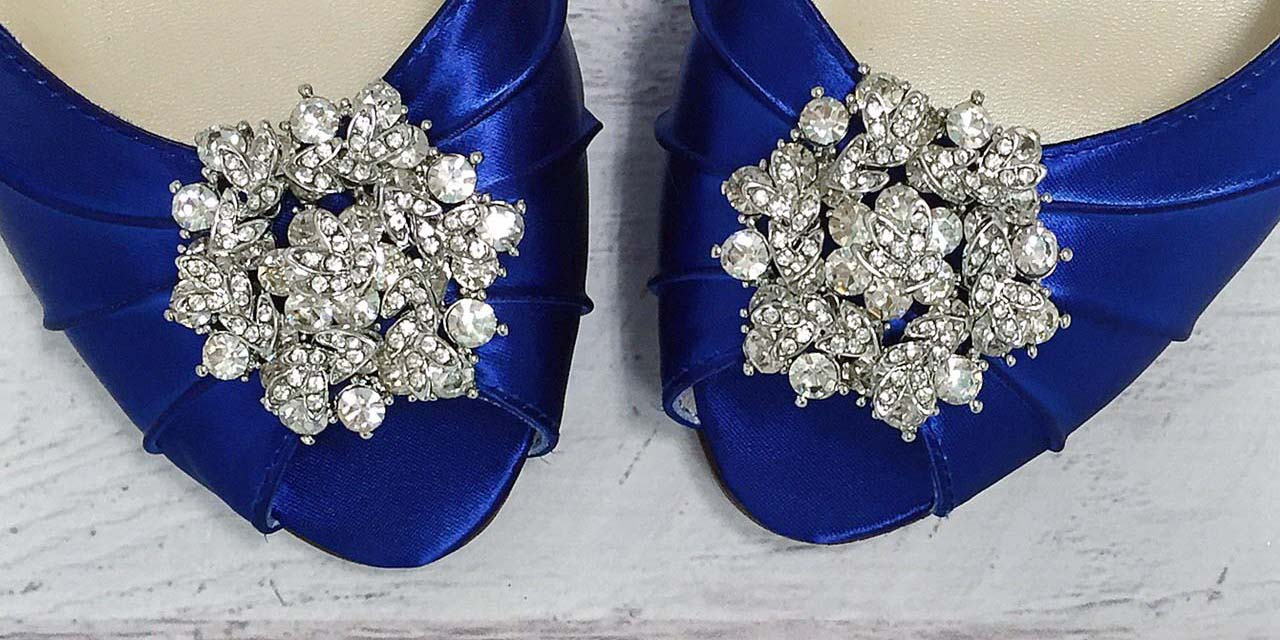 Blue Wedding Shoes Silver Crystal Brooch Custom Wedding Shoes