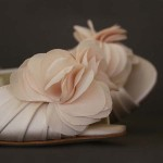 Blush Wedding Shoes with Chiffon Layered Flower