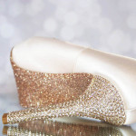 Blush Wedding Shoes High Heel Peeptoe Crystal Heel Glitter Sole Lace Applique Custom Design Ellie Wren