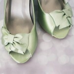 Clover Green Wedding Shoes Wedges Peeptoes Matching Bow Silver Buttons Ellie Wren Custom Design