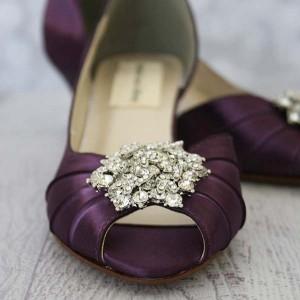 Custom Wedding Shoes Plum D'Orsay Kitten Heel Peep Toe Wedding Shoes Classic Rhinestone Crystal Cluster