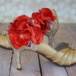 Gold Wedding Shoes Gold Blush Crystals Coral Flowers Design My Wedding Shoes Custom Wedding Indian Wedding