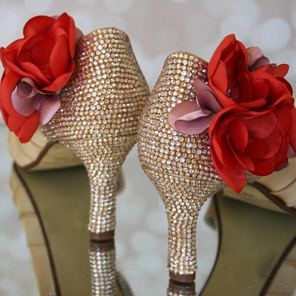 Gold Wedding Shoes Gold Blush Crystals Coral Flowers Design My Wedding Shoes Custom Wedding Indian Wedding