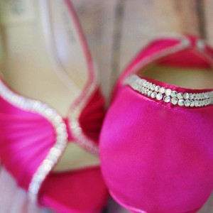 Fuchsia Pink Wedding Shoes Platform Peep Toe Bridal Heels with Silver Crystal Trim